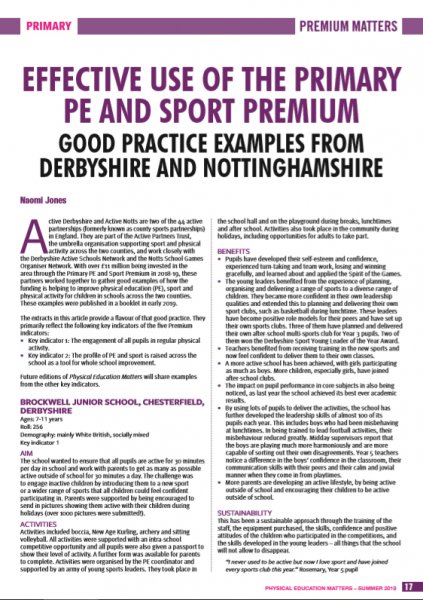 Derbyshire schools' good practice features in national education journal Physical Education Matters