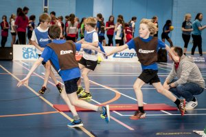 Children from across Derbyshire competed at the University of Derby Sports Centre.